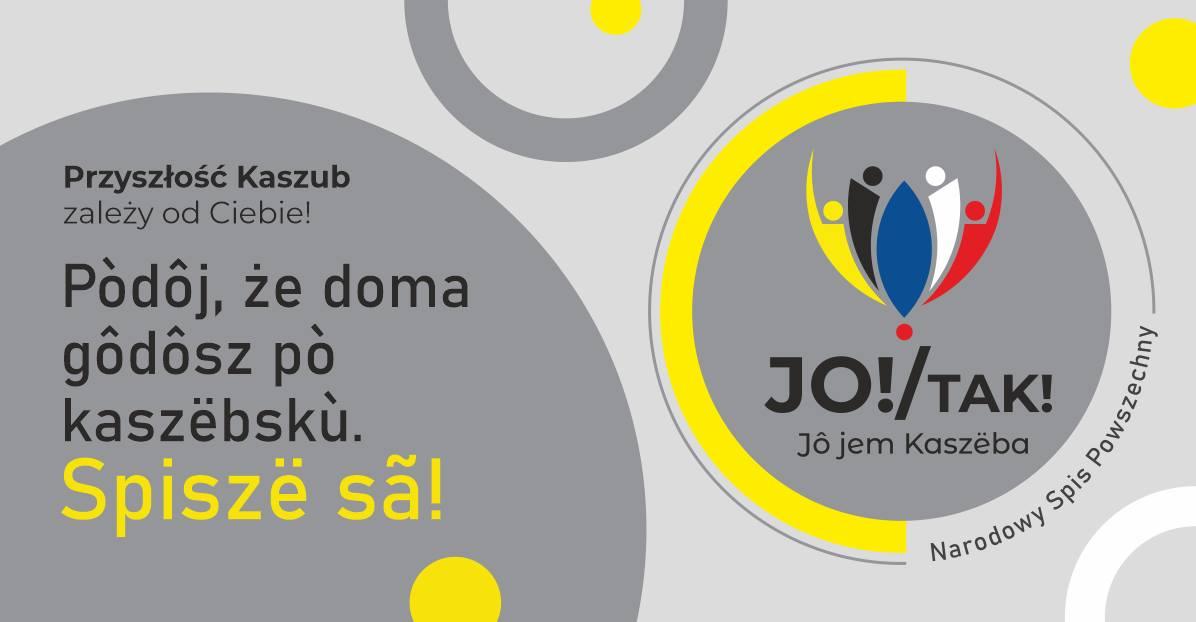 Plakat w języku kaszubskim zachęcający do spisania się w NSP2021 i podania informacji o znajomości języka kaszubskiego