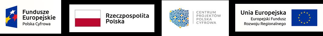 Loga Fundusze Europejskie Polska Cyfrowa, Rzeczpospolita Polska, Centrum Projektów Polska Cyfrowa, Europejski Fundusz Rozwoju Regionalnego