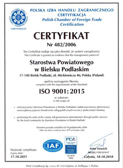 Certyfikat jakości ISO 9001: 2015