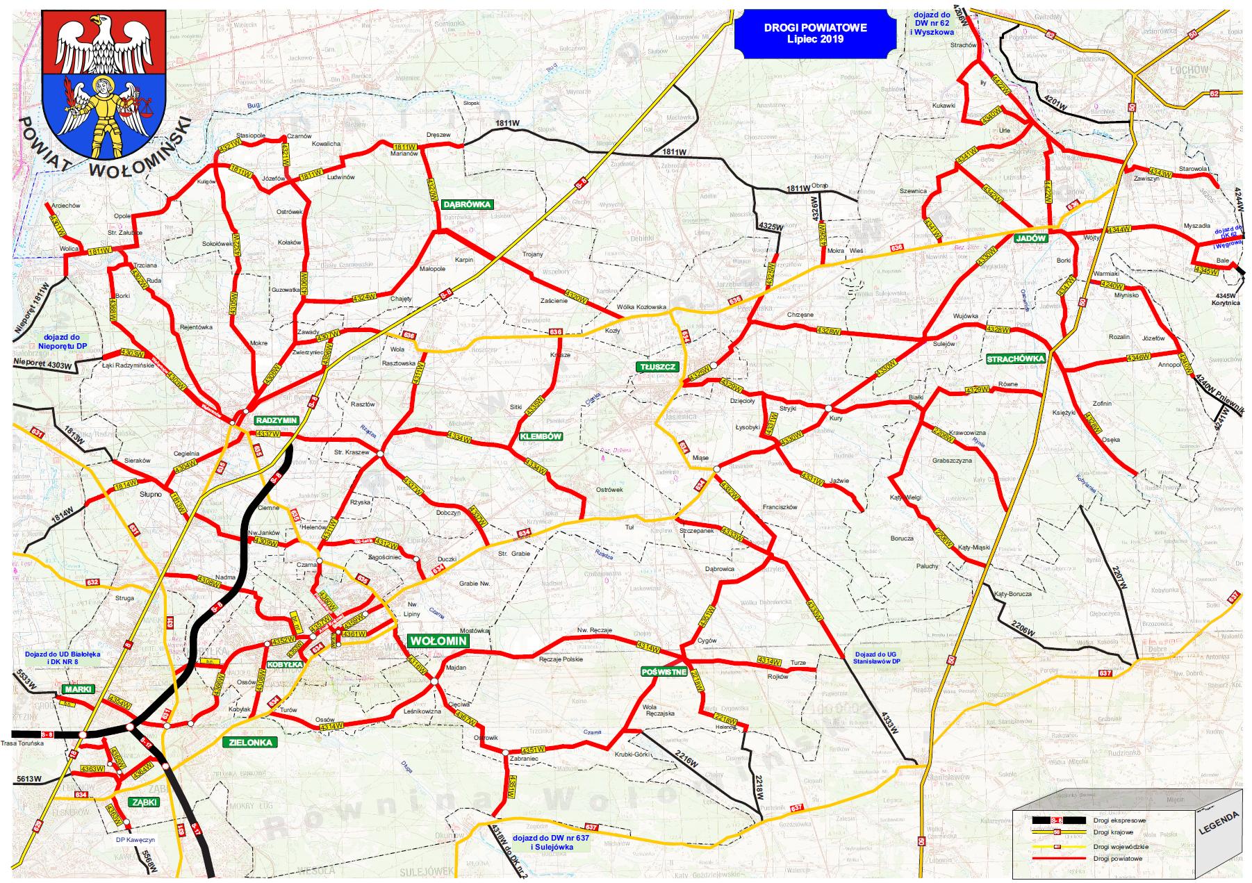 Mapa dróg powiatowych