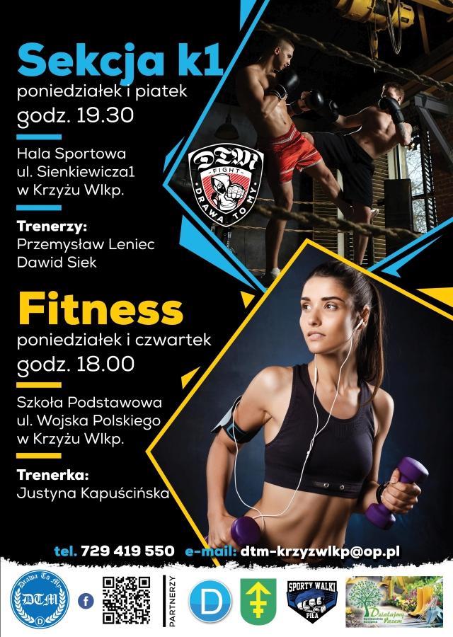 Sekcja k1 - poniedziałek, piątek 19.30. Fitness - poniedziałek, czwartek godz.18.00
