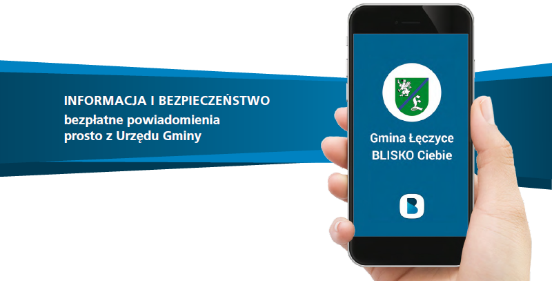 """Zdjęcie ręki trzymającej telefon z herbem Gminy Łęczyce i obok napis """"INFORMACJA I BEZPIECZEŃSTWO bezpłatne powiadomienia prosto z Urzędu Gminy"""""""