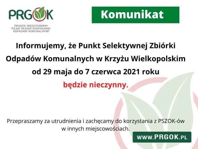 Punkt Selektywnej Zbiórki Odpadów Komunalnych nieczynny od 29 maja do 7 czerwca