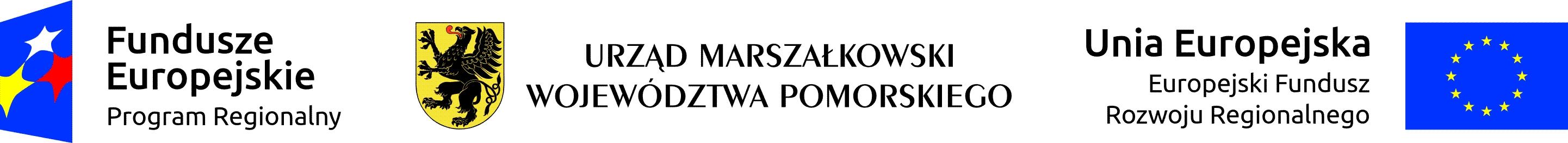 Loga Fundusze Europejskie, Urząd Marszałkowski Województwa Pomorskiego, Europejski Fundusz Rozwoju Regionalnego